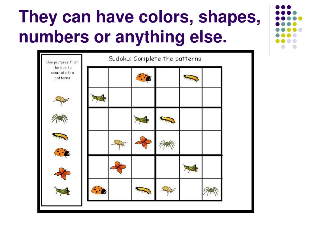 They can have colors, shapes, numbers or anything else.