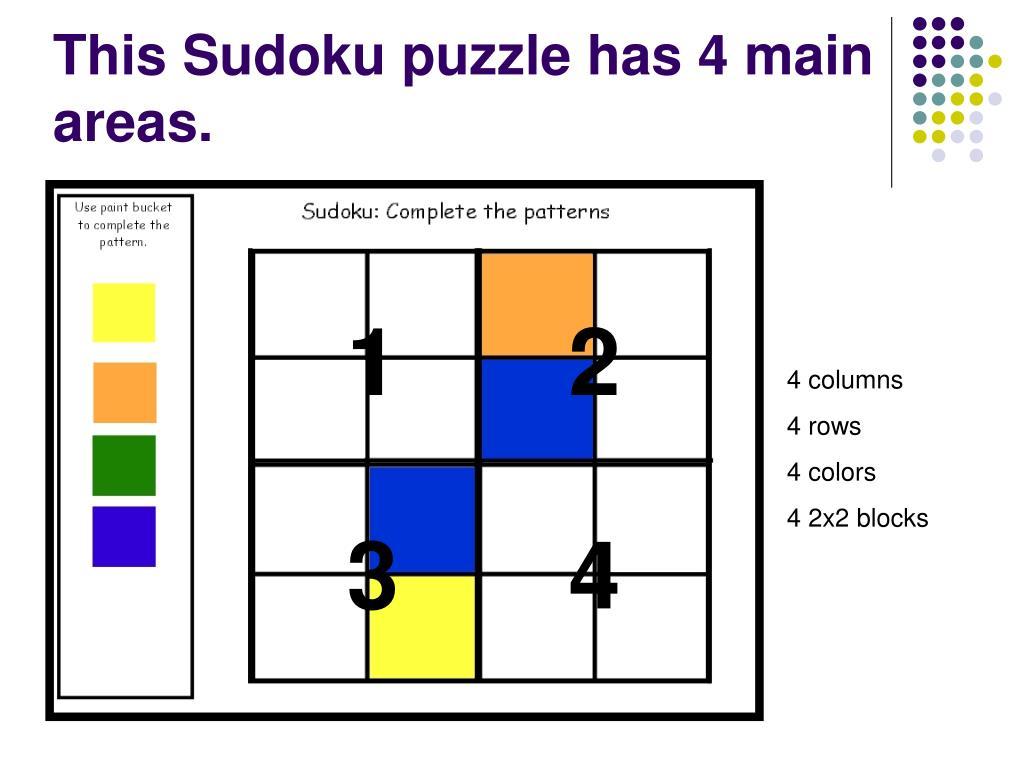 This Sudoku puzzle has 4 main areas.