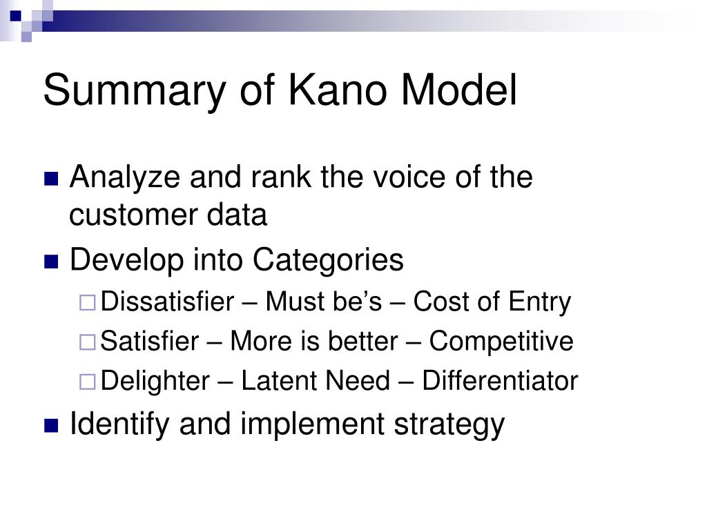 Summary of Kano Model
