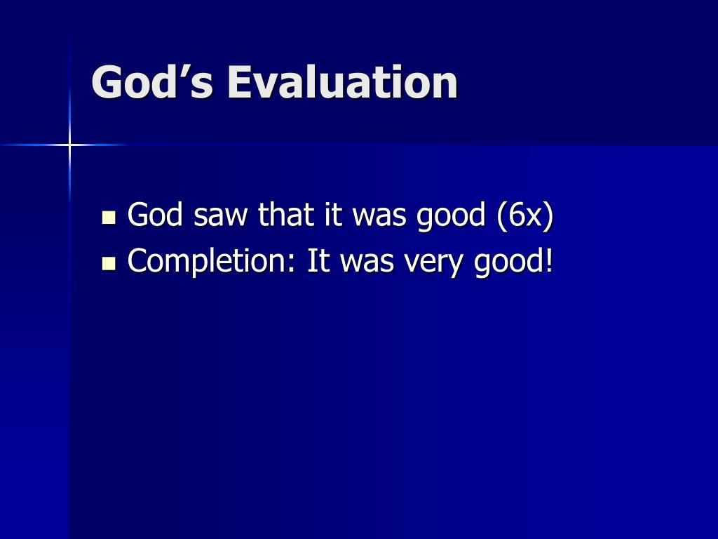 God's Evaluation