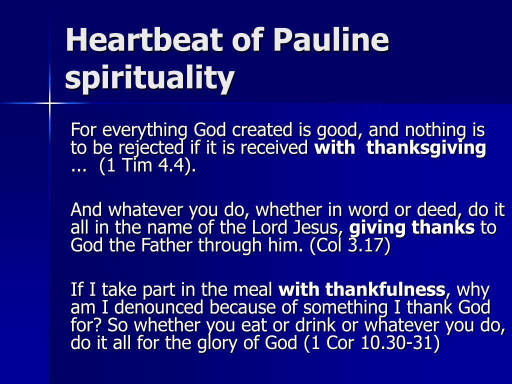 Heartbeat of Pauline spirituality