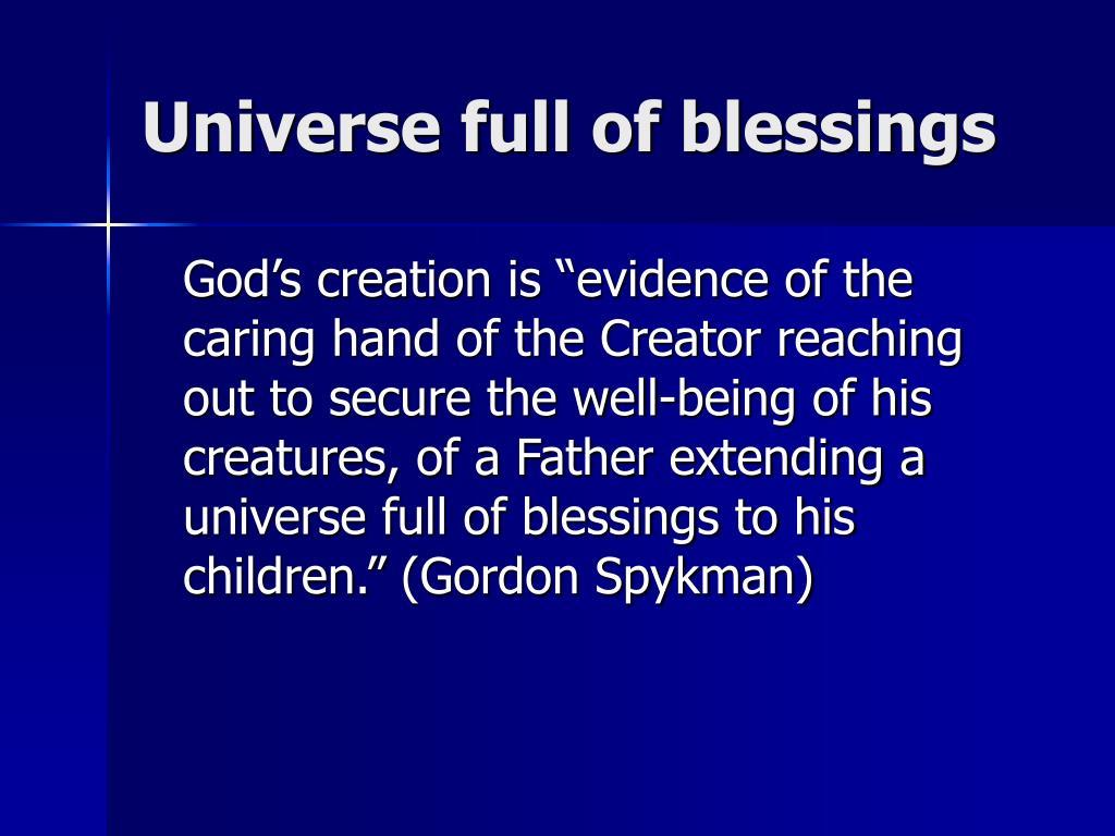 Universe full of blessings