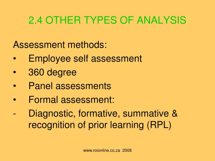 2.4 OTHER TYPES OF ANALYSIS