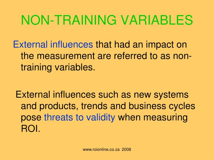 NON-TRAINING VARIABLES