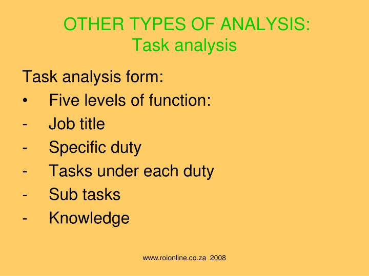 OTHER TYPES OF ANALYSIS: