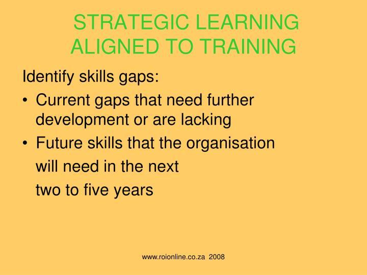 STRATEGIC LEARNING ALIGNED TO TRAINING