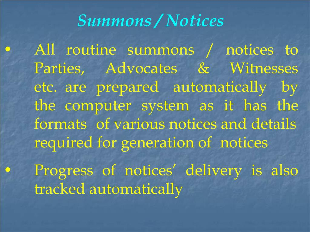 Summons / Notices