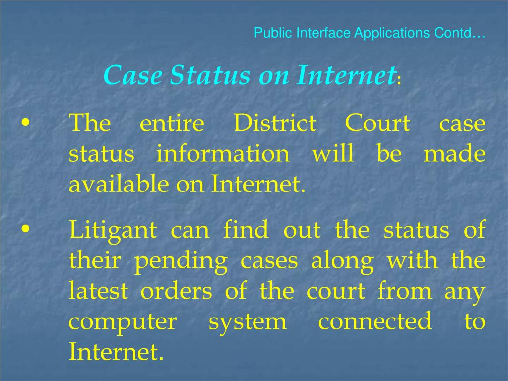 Public Interface Applications Contd