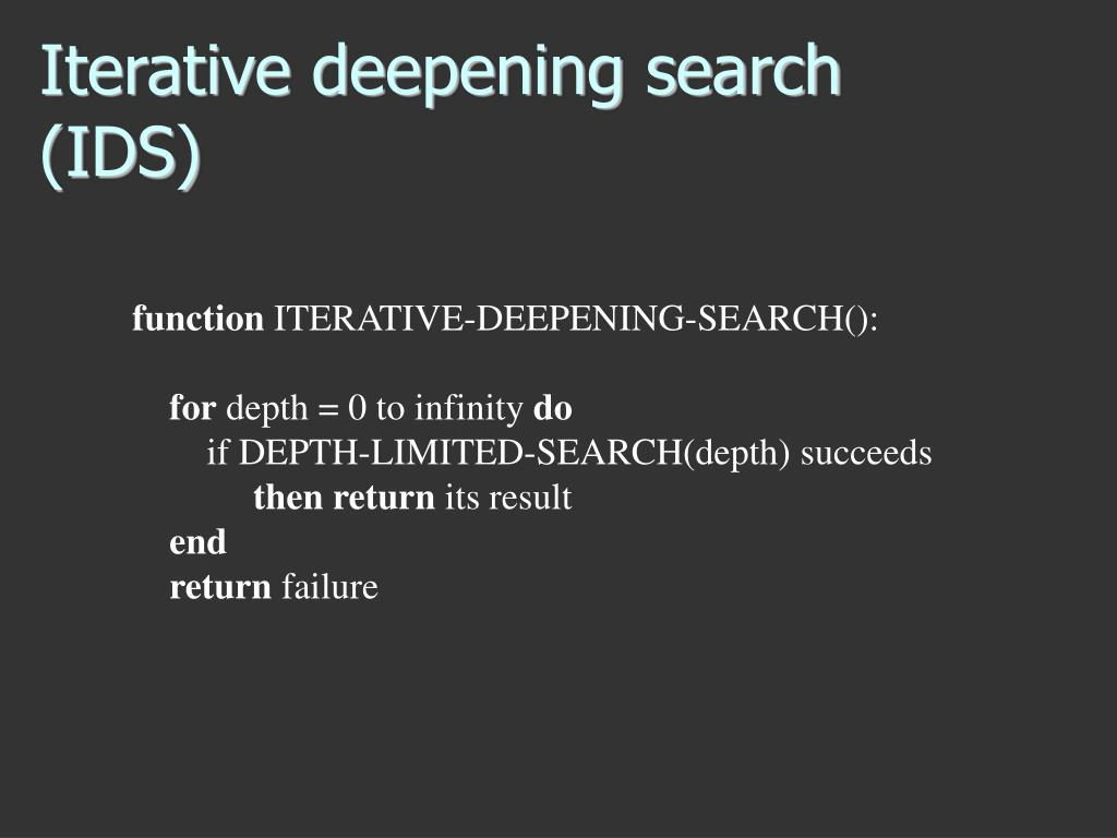 Iterative deepening search (IDS)