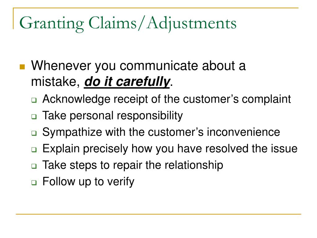 Granting Claims/Adjustments