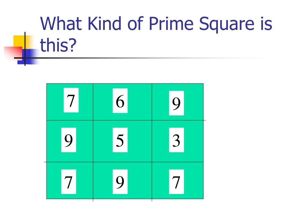 What Kind of Prime Square is this?