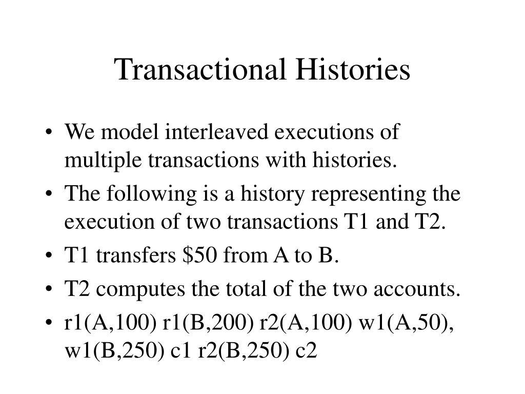 Transactional Histories