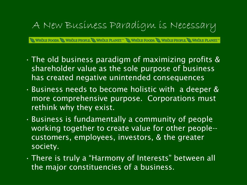 A New Business Paradigm is Necessary