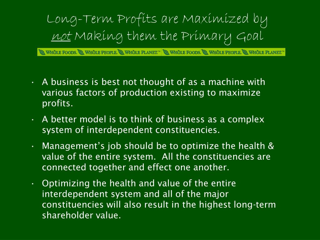 Long-Term Profits are Maximized by