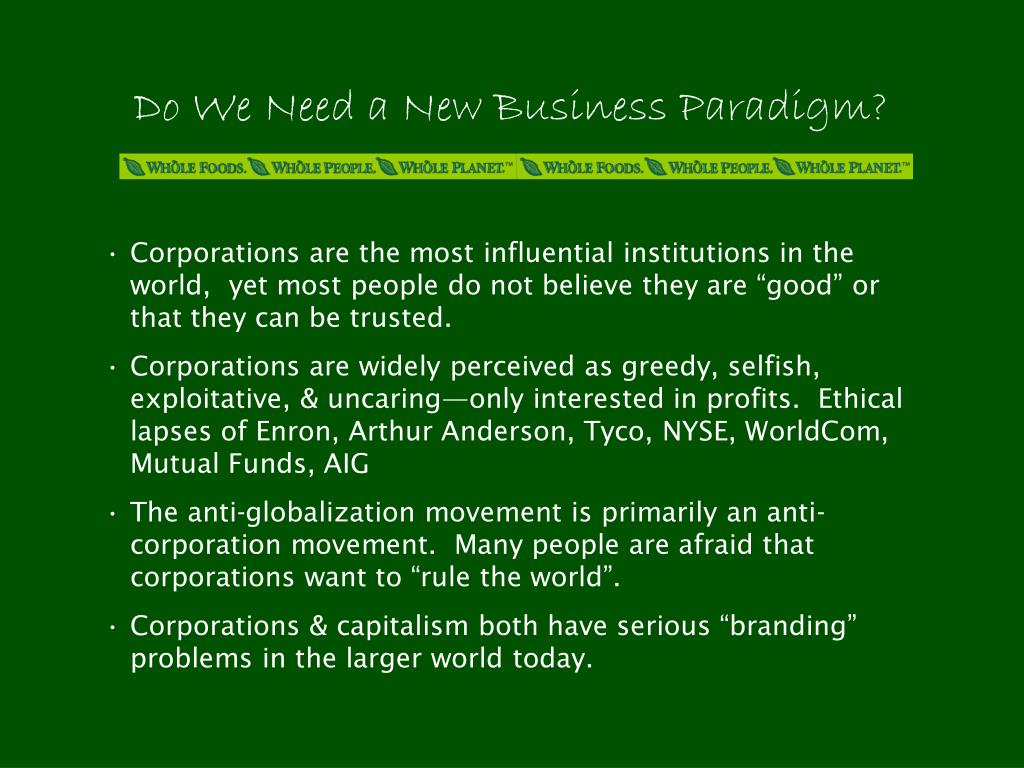 Do We Need a New Business Paradigm?