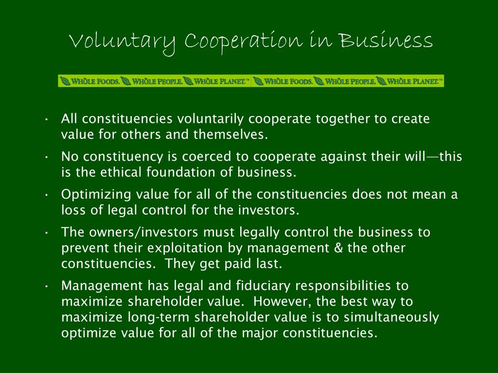 Voluntary Cooperation in Business