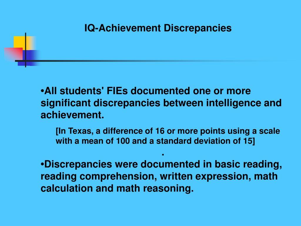 IQ-Achievement Discrepancies