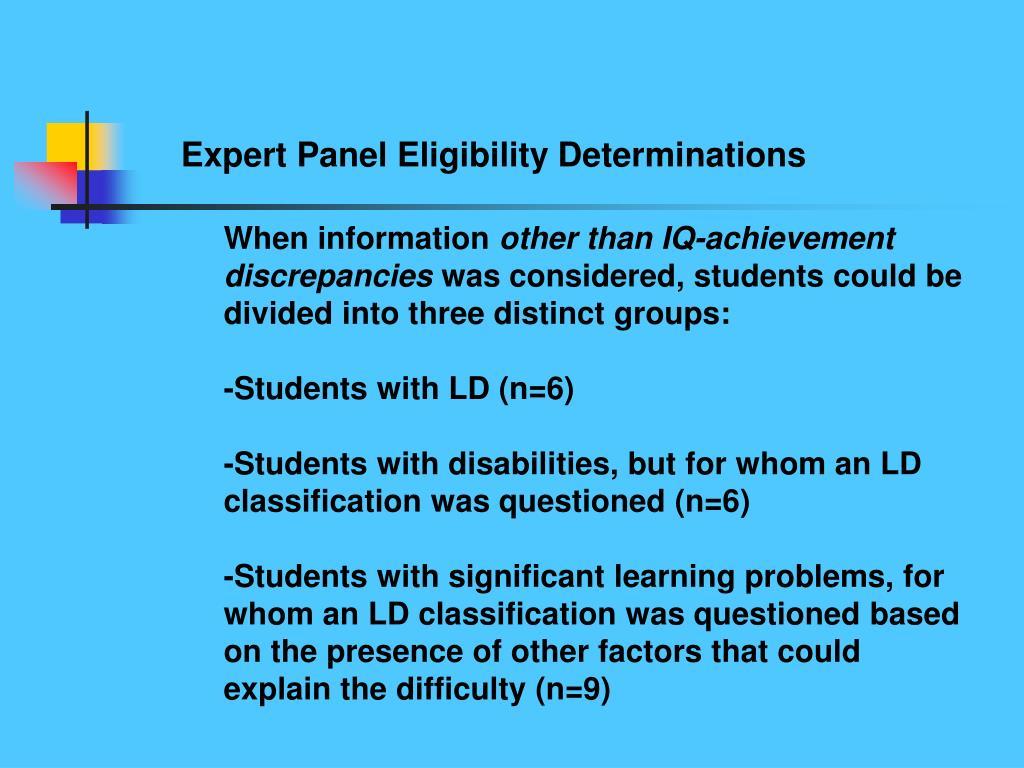 Expert Panel Eligibility Determinations