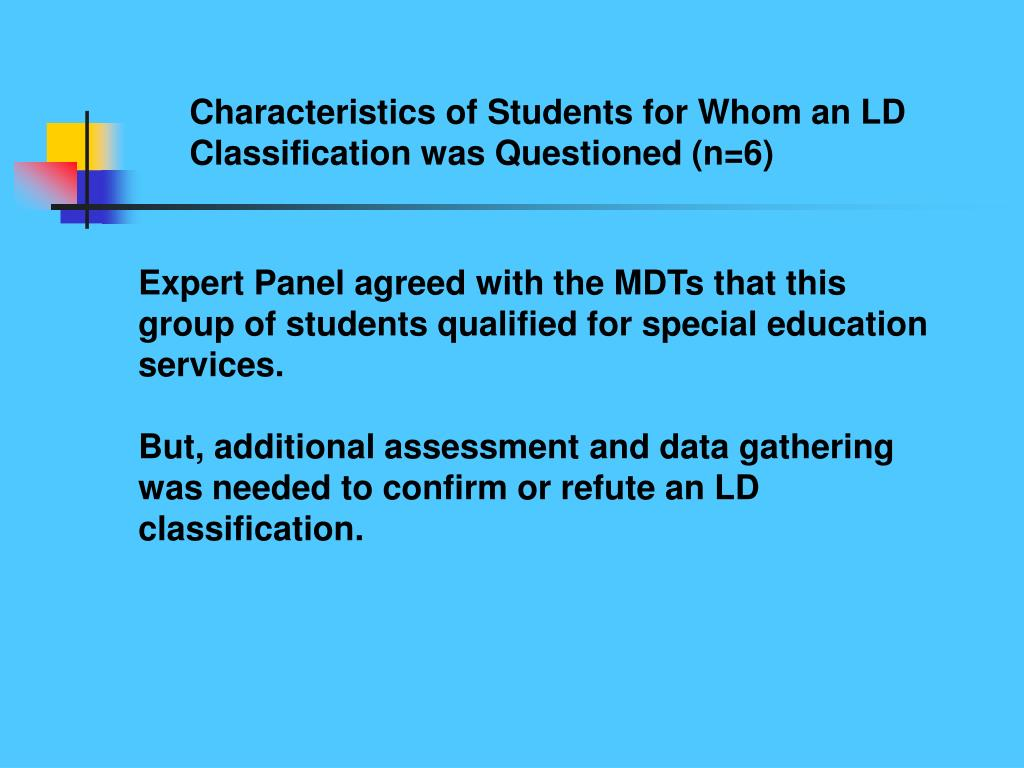 Characteristics of Students for Whom an LD Classification was Questioned (n=6)