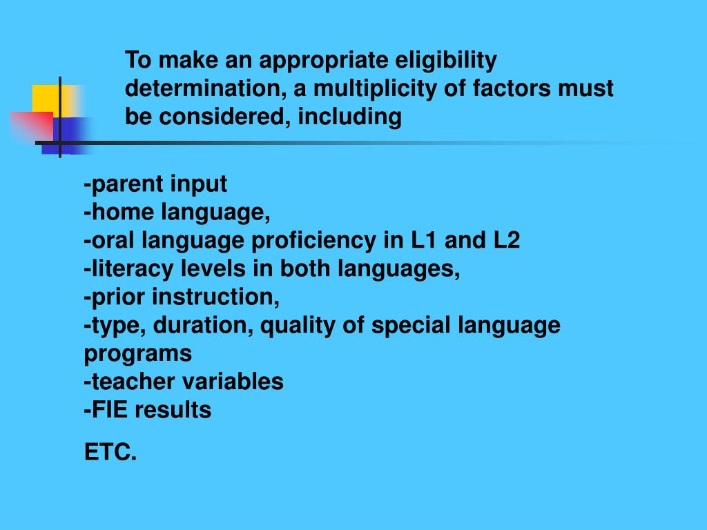 To make an appropriate eligibility determination, a multiplicity of factors must be considered, including