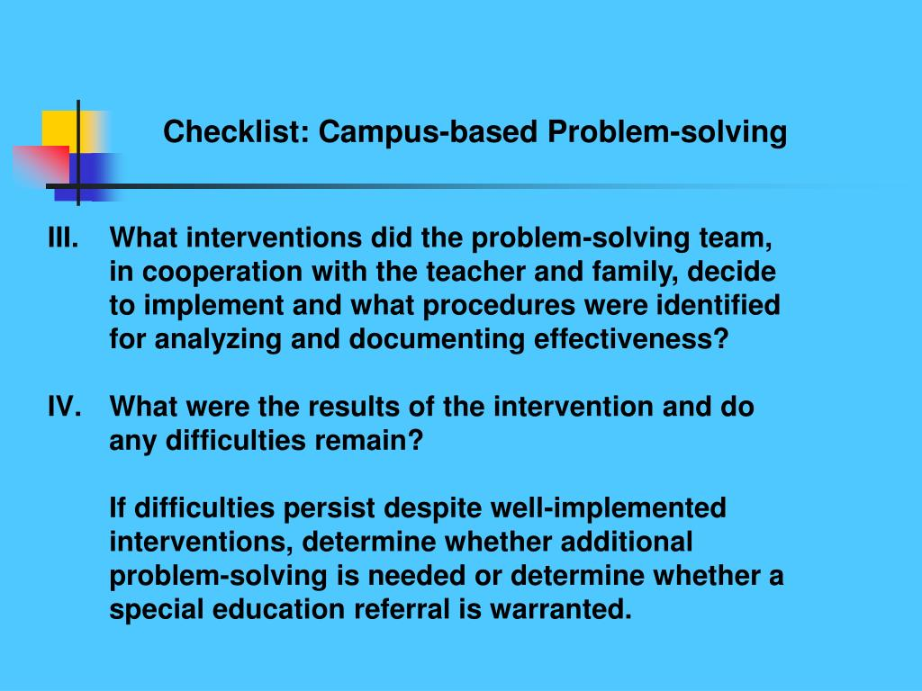 Checklist: Campus-based Problem-solving