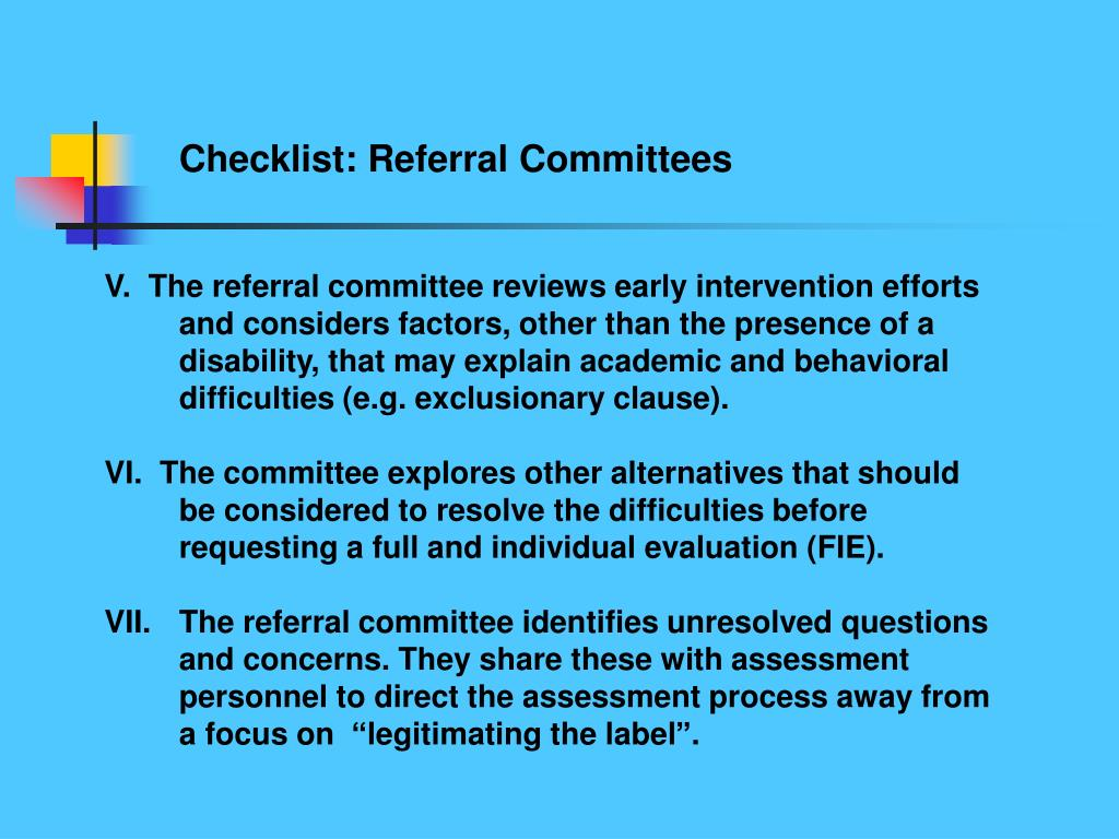 Checklist: Referral Committees