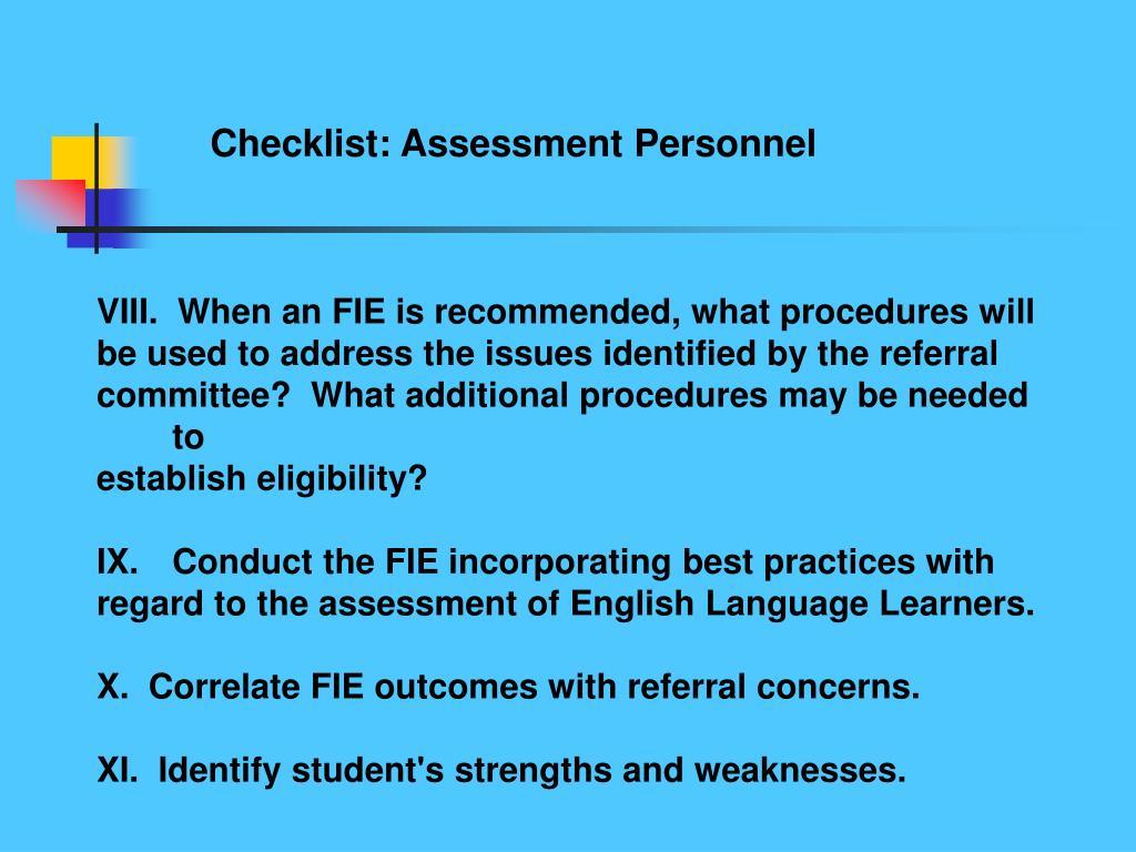 Checklist: Assessment Personnel