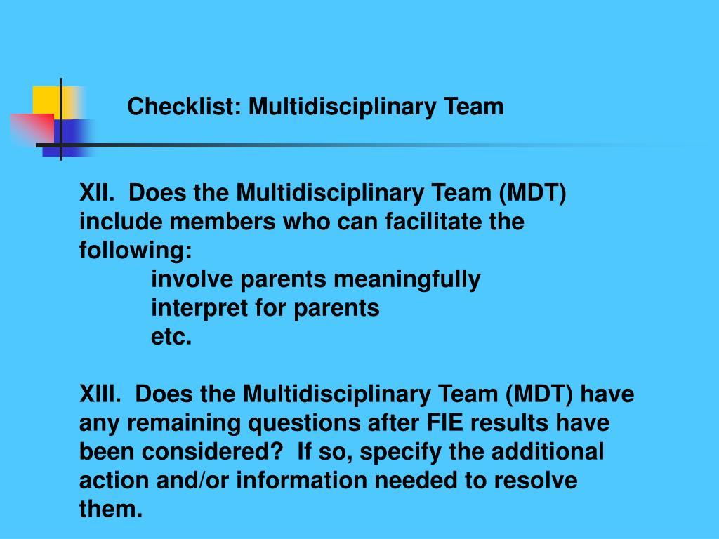 Checklist: Multidisciplinary Team