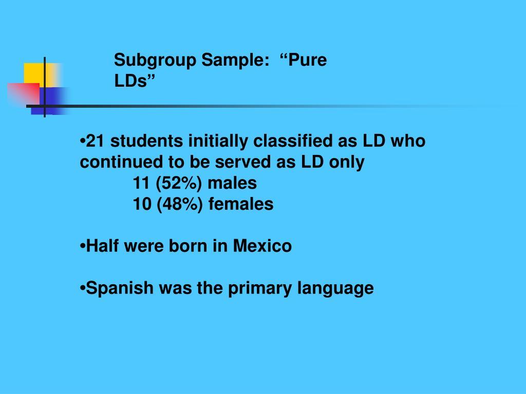 Subgroup Sample: