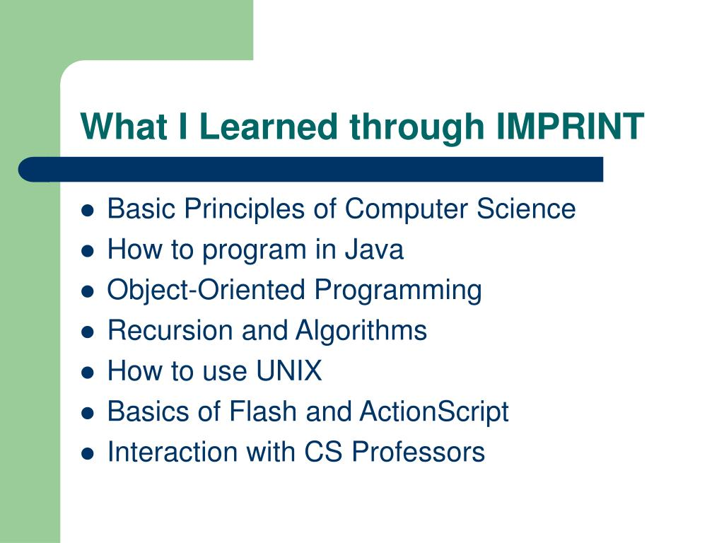 What I Learned through IMPRINT