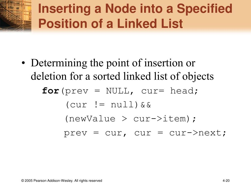 Inserting a Node into a Specified Position of a Linked List