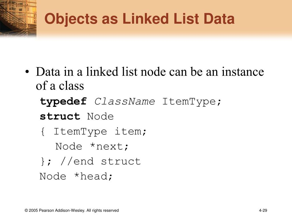 Objects as Linked List Data