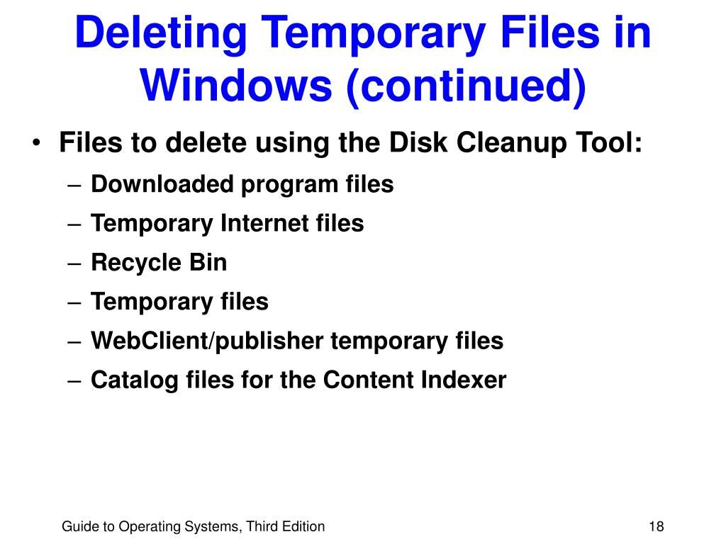 Deleting Temporary Files in Windows (continued)