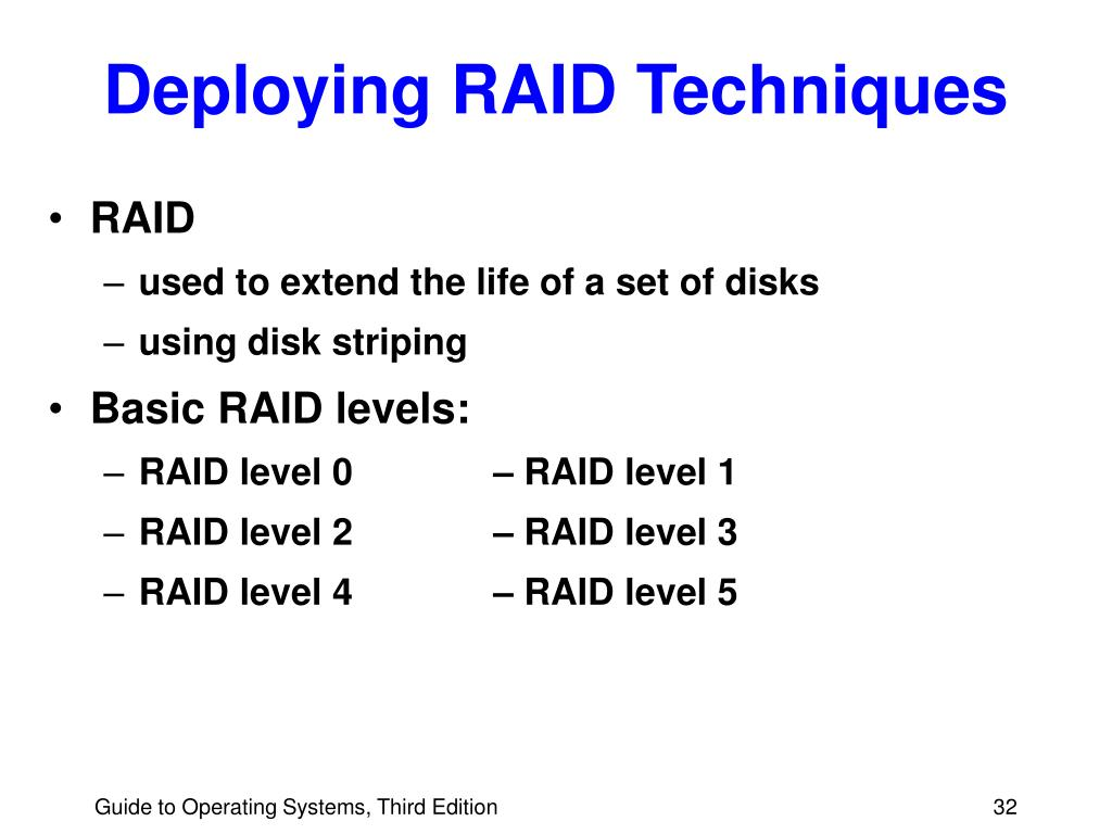 Deploying RAID Techniques