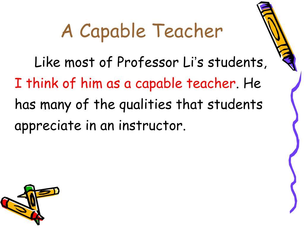 A Capable Teacher