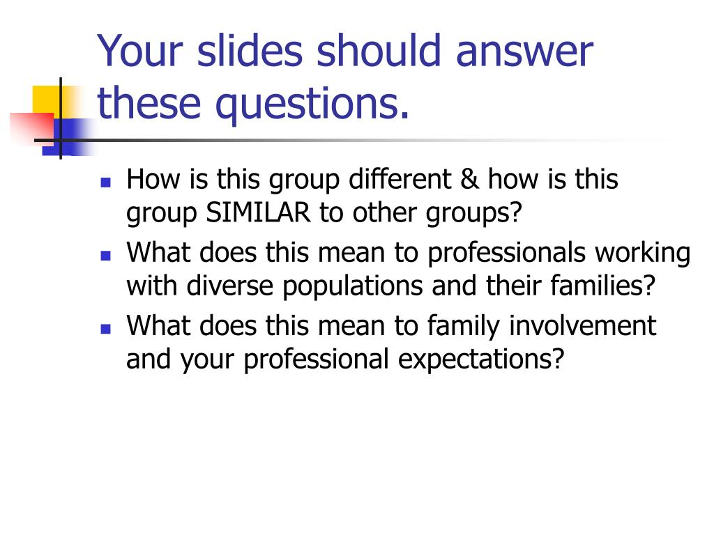 Your slides should answer these questions.