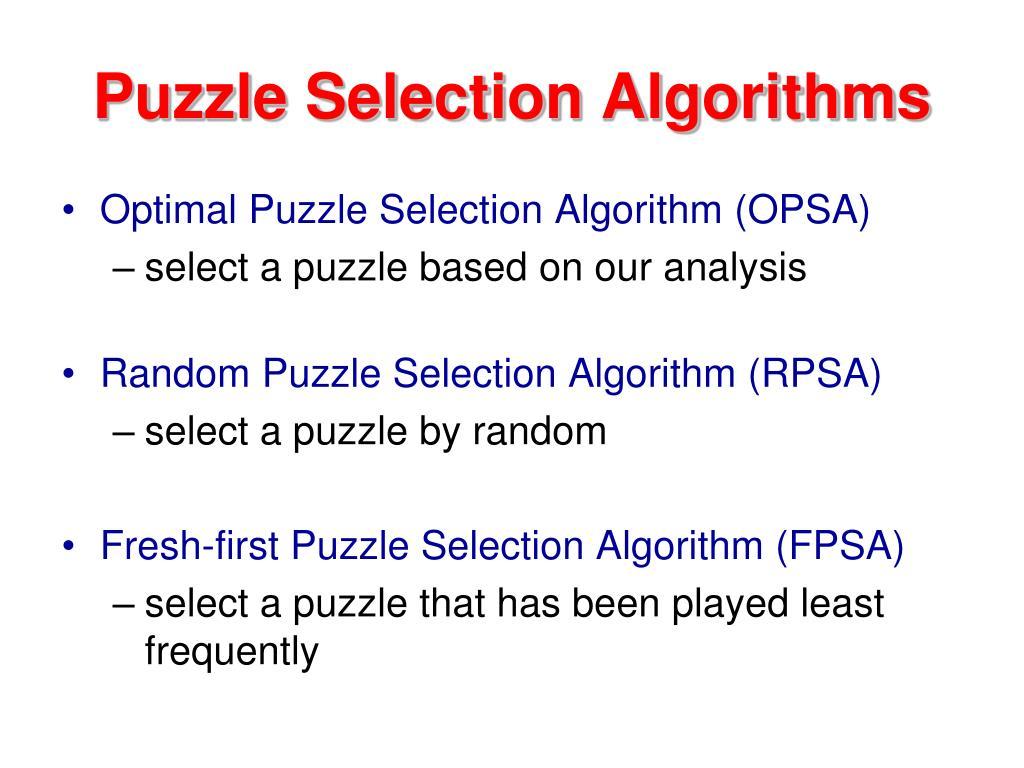 Puzzle Selection Algorithms