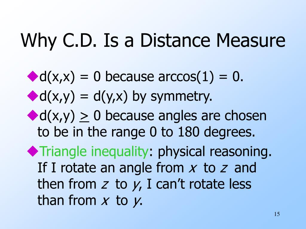 Why C.D. Is a Distance Measure