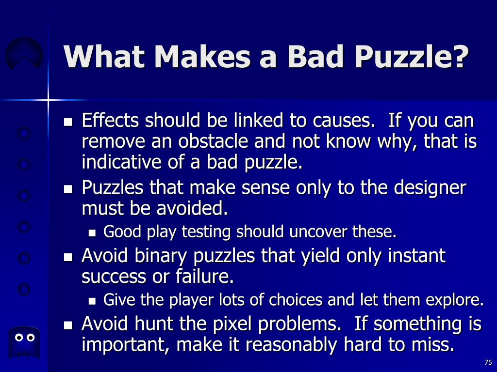 What Makes a Bad Puzzle?