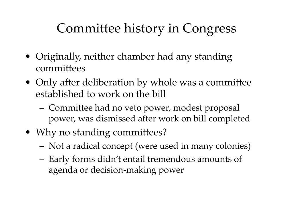 Committee history in Congress