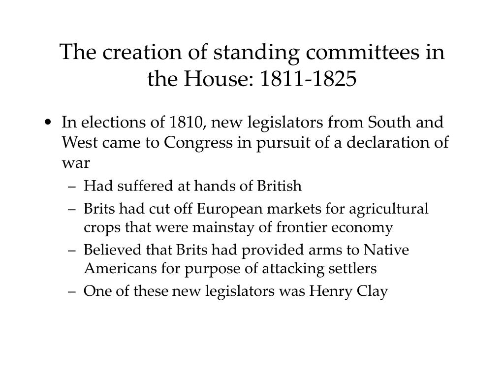 The creation of standing committees in the House: 1811-1825