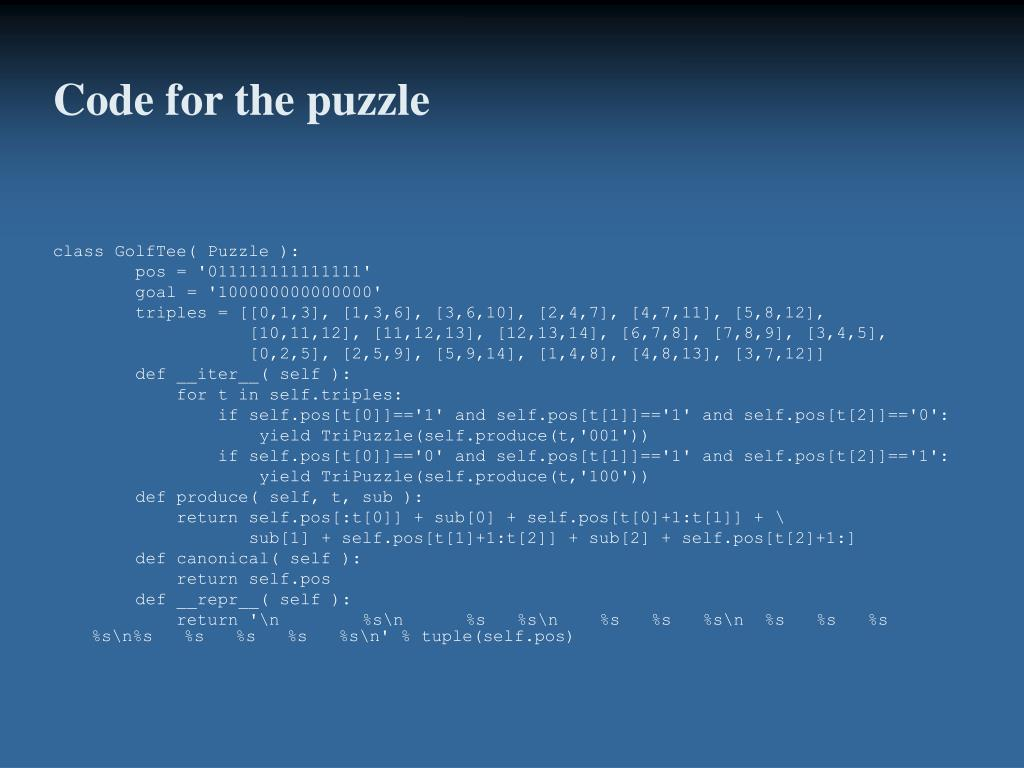 Code for the puzzle