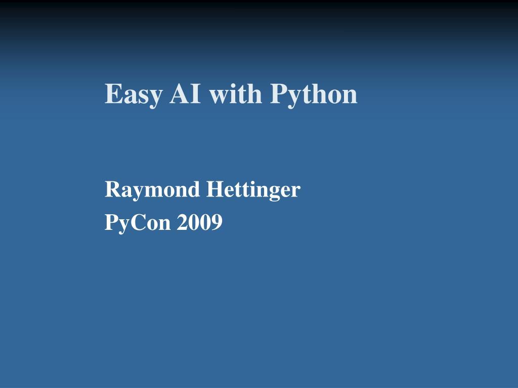Easy AI with Python