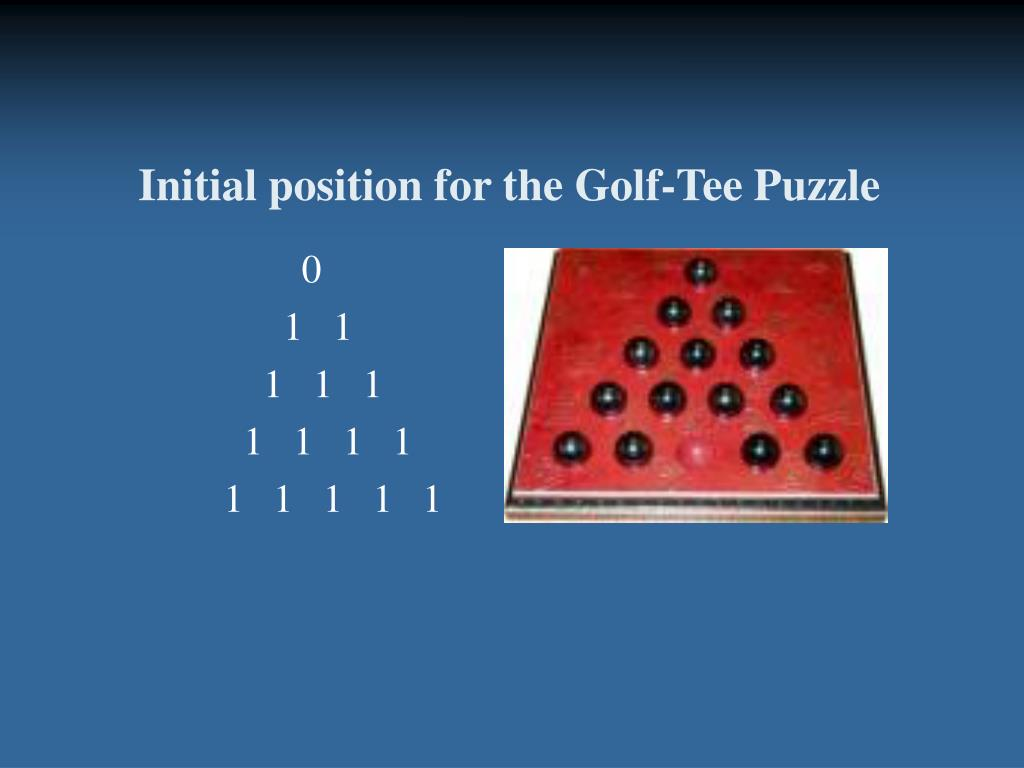 Initial position for the Golf-Tee Puzzle