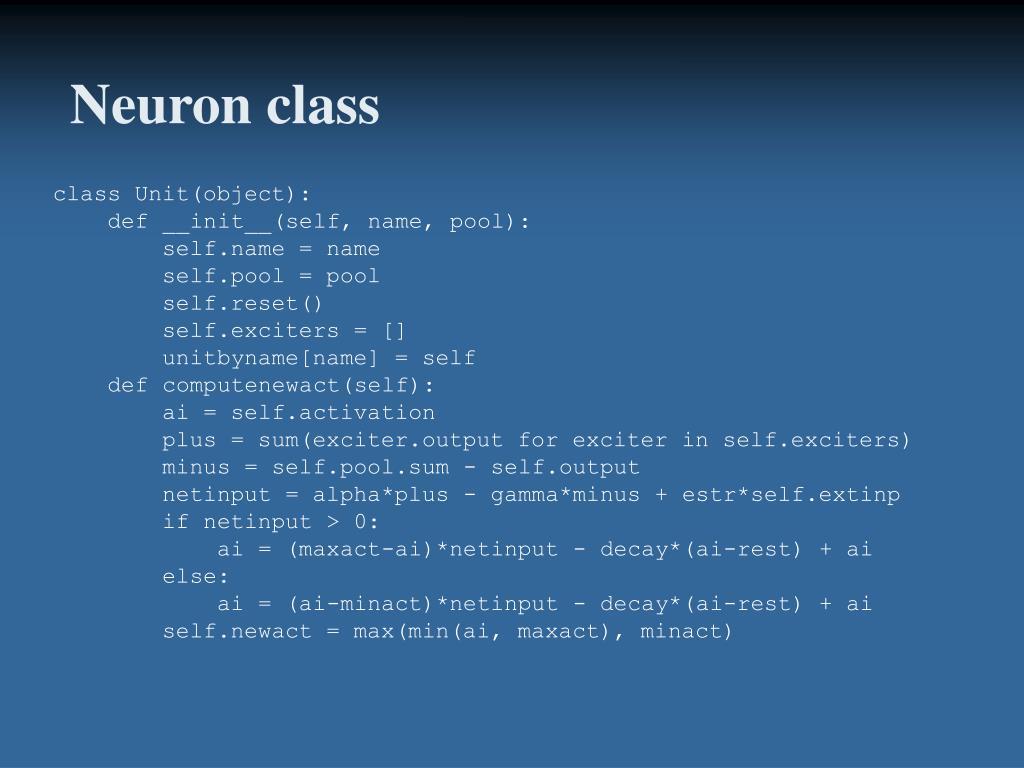 Neuron class
