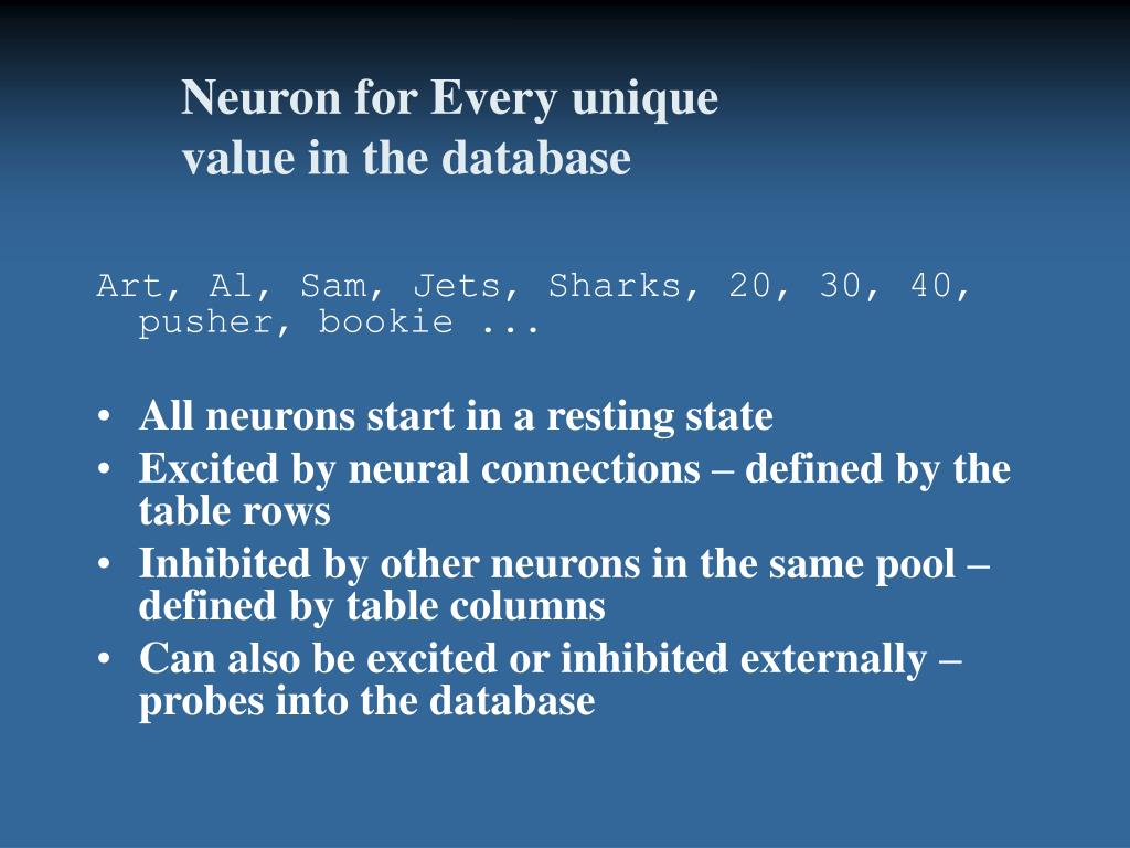 Neuron for Every unique value in the database