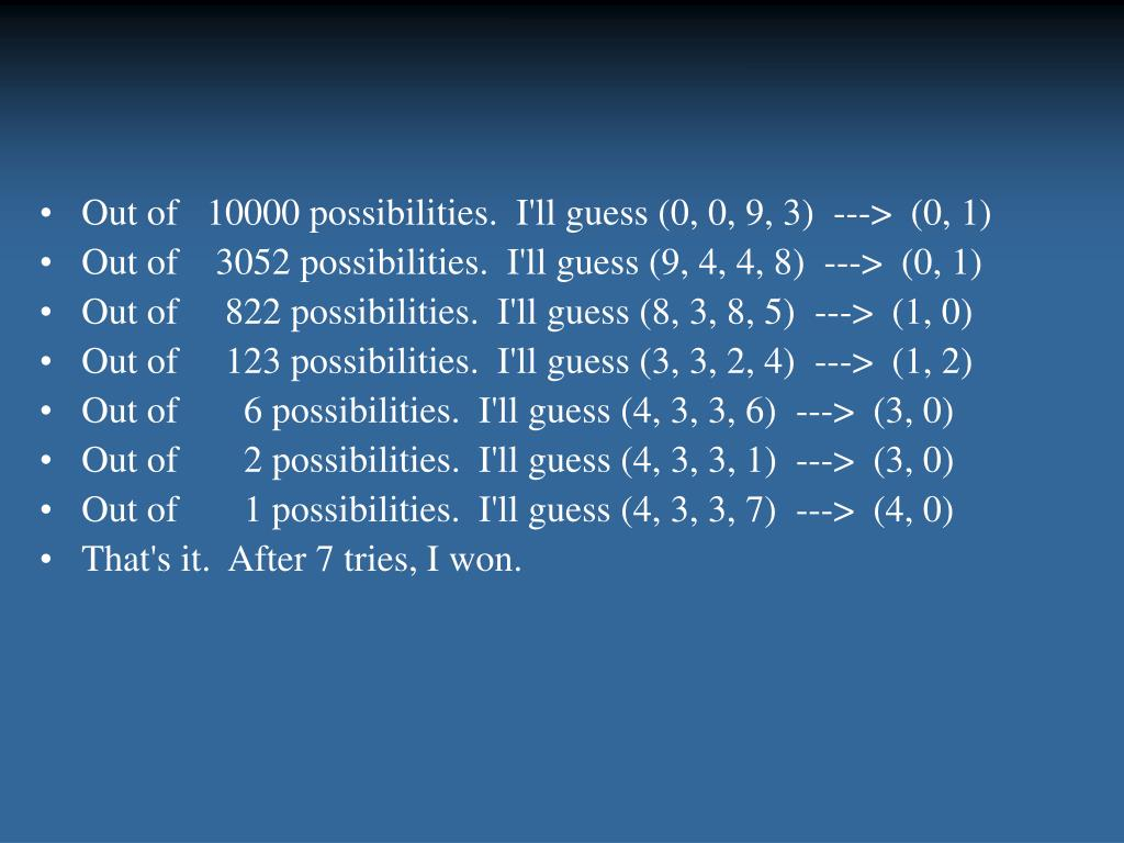 Out of   10000 possibilities.  I'll guess (0, 0, 9, 3)  --->  (0, 1)