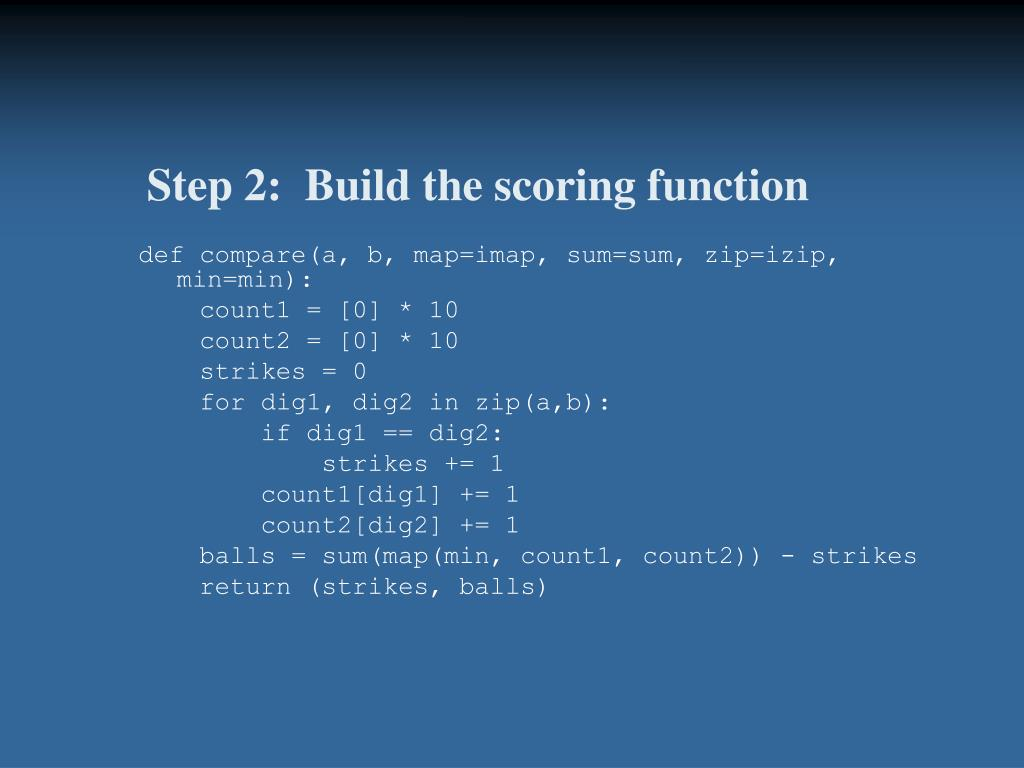 Step 2:  Build the scoring function