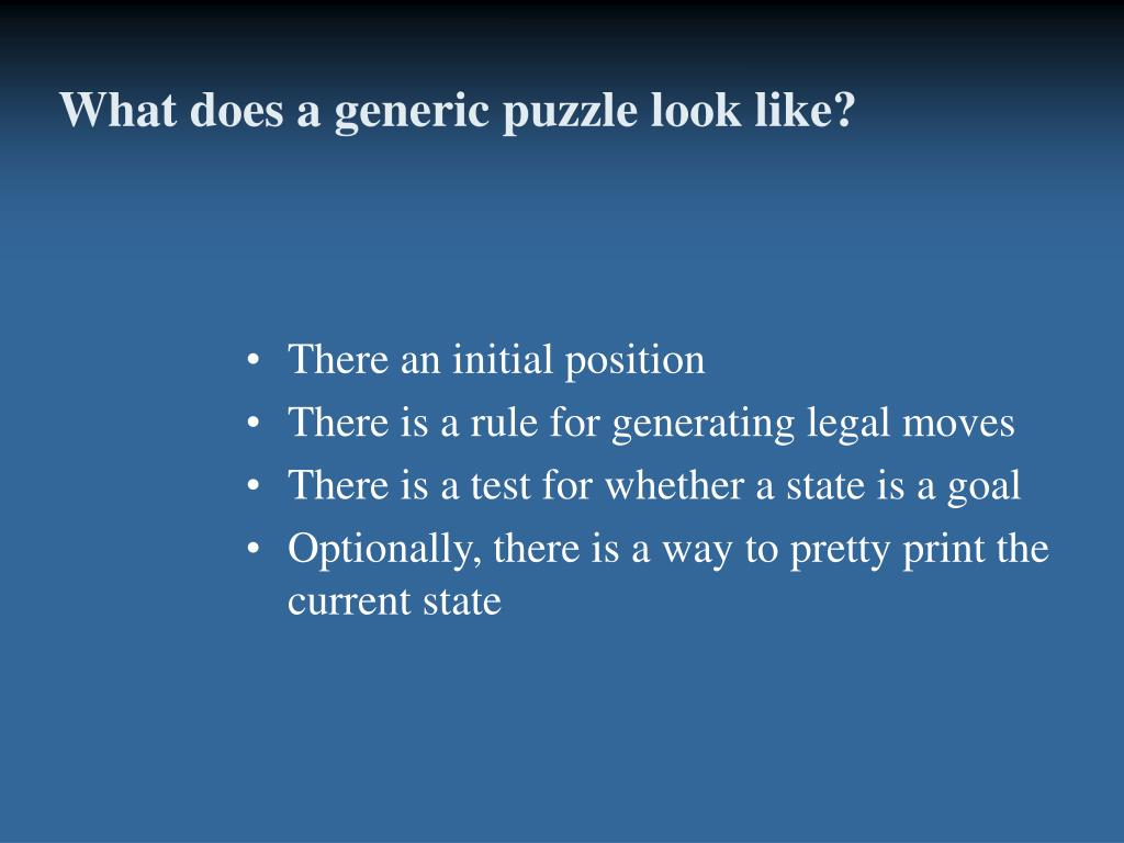 What does a generic puzzle look like?