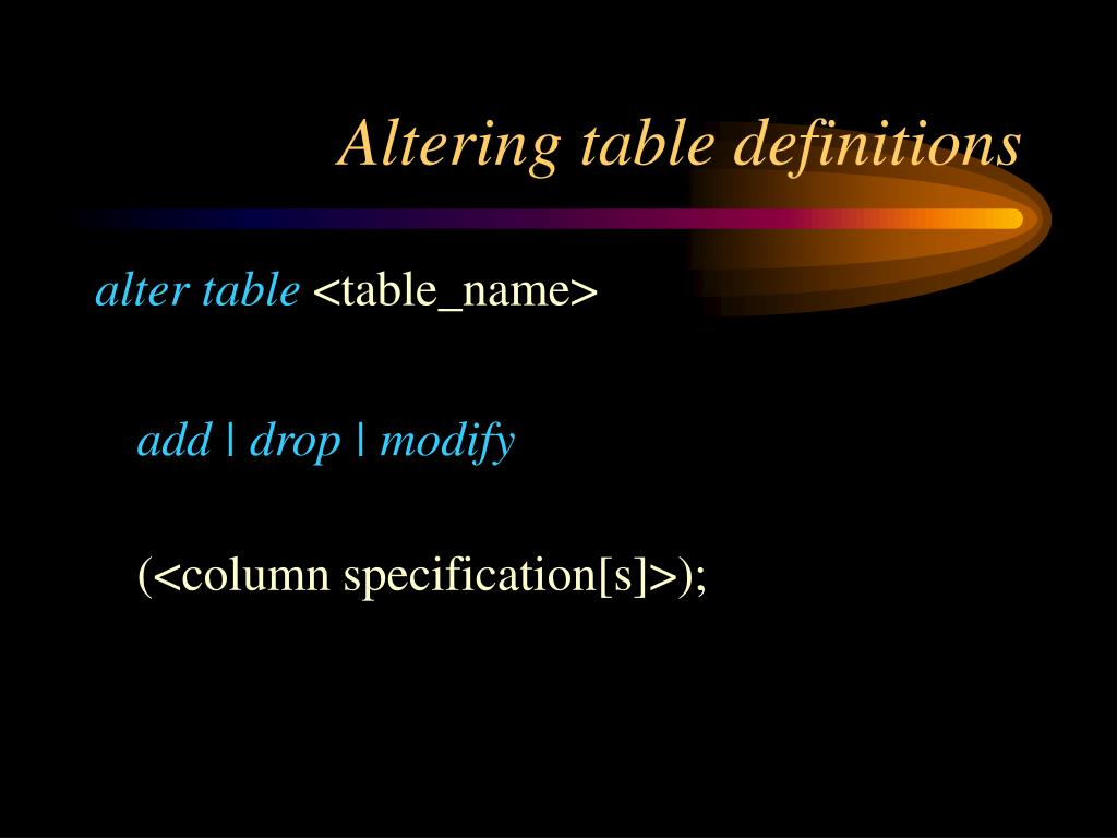 Altering table definitions